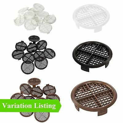 70mm Round Soffit Air Vents, Push Fit Eaves Disc, White Black Brown Pack Options