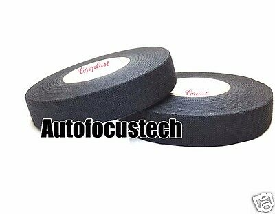 2pcs Black Cloth Fabric Adhesive Tape Roll For Auto Car Cable Wiring Harness