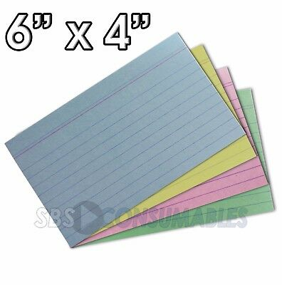 """100x Record Cards 6"""" x 4"""" - Assorted Colours, Lined, Prompt & Revision (13852X)"""