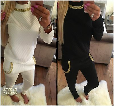 S200 New Women Ladies Quilted Luxury Diamond Diamante Necklace Lounge Tracksuit