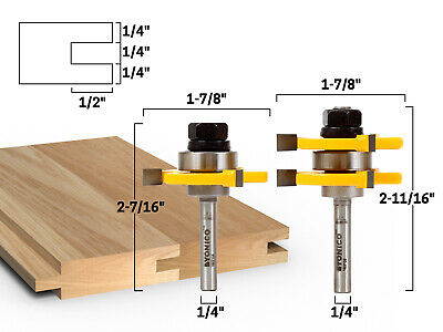 """2 Bit Tongue and Groove Router Bit Set - 1/4"""" Shank - Yonico 15221q"""
