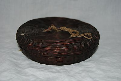 Vintage Weave Woven Sewing Basket