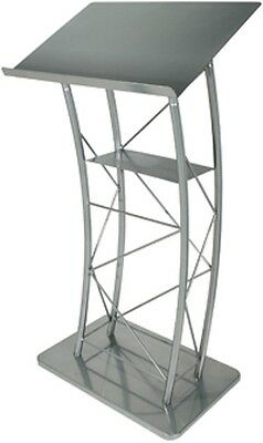Large Curved Metal Lectern Silver    Kml2S