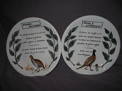 Set of 2 Gien Recipe Lunch/Salad Plates-Pheasant(Faisan) and Partridge(Perdrix)