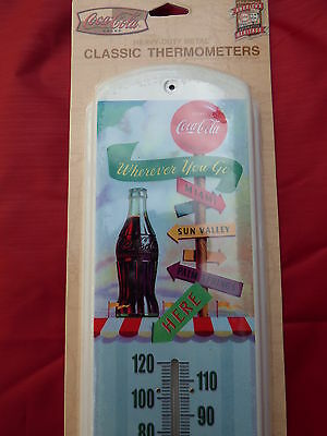 """17""""x5"""" METAL TIN THERMOMETER NEW Coca-cola street sign pause refresh outdoor A1"""