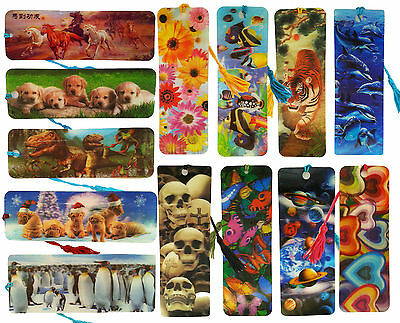 Lot of 100 3D Bookmarks with Tassle House Skulls Planets Puppy Flowers Dinosaur