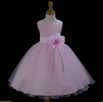 Pink Flower Girl Dress Wedding Bridesmaid Birthday Pageant Formal Graduation New
