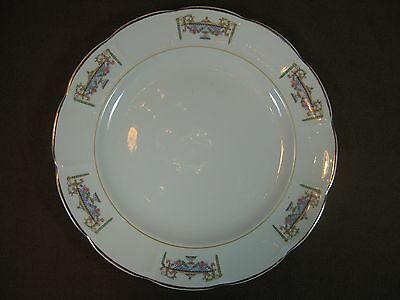 Sebring Ivory Porcelain 1920s Dinner Plate Normandie Pattern 22K Gold Trim