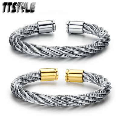 TTstyle Silver 8mm Width 316L Stainless Steel Cuff Bangle Silver/Gold Buckle