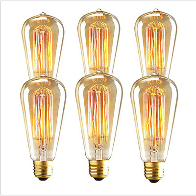 6x 40W E27 Retro Filament Edison Light Bulb Vintage Industrial Squirrel Cage UK