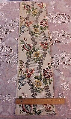 "18thC French Silver&Gold Metallic Polychrome Silk Brocade Fabric Textile~38""LX9"""