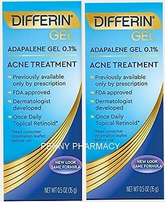 DIFFERIN GEL 0.1% ADAPALENE 15GM for SERIOUS ACNE ( 2 pack )