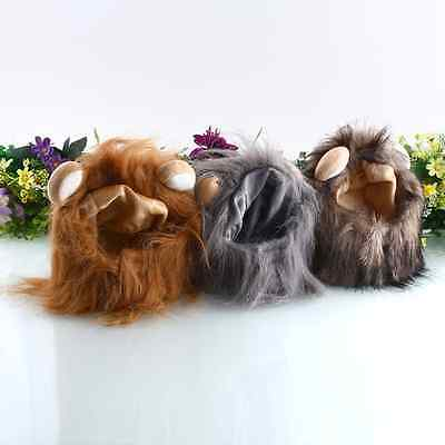 Lion Mane Wig For Pet Cat Dogs Halloween Festival Fancy Fun Dress Up with Ears