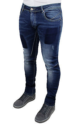 Jeans Pantalone Uomo Diamond Slim Fit Blue Denim Casual Toppe 42 44 46 48 50 52