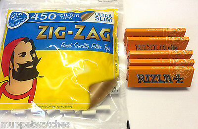 ZIG ZAG ULTRA SLIM Filter Tips and 5 x RIZLA LIQUORICE Rolling Cigarette Papers