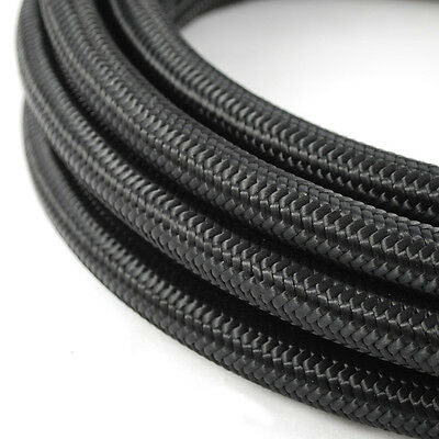 -6 AN AN6 Nylon Stainless Steel Braided Fuel Oil Line Hose Black Sold -By 1meter