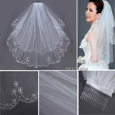 2T White Ivory Wedding Bridal Veil Pearl Beaded Edge Elbow Length With Comb UK