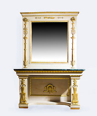 Antique Roman Console Table with Mirror & Marble Top
