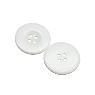 Packet 25 x White Resin 16mm Round 4-Holed Sew On Buttons HA09880