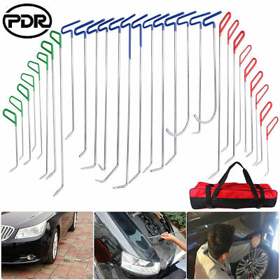 30pc Super PDR Auto Body Rods Paintless Dent Hail Repair Tools Set Kit w/ Bag