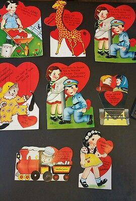 Vintage 1950's Valentine Day Cards Lot Of 8 Bigger Cards And 21 Small Cards