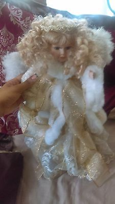 Gold Shiney Angel Porcelain Doll New Good Condition Pretty!!!