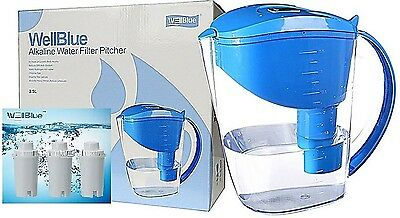 New Wellblue Alkaline Water Filter Pitcher 3.5L With 3 Filters Included-Blue