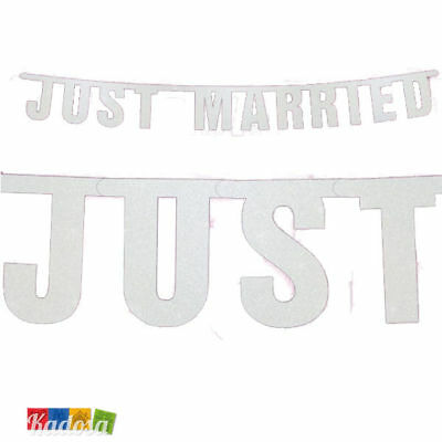 Banner JUST MARRIED Bianco Sperkling Striscione Matrimonio Ghirlanda Brillantini