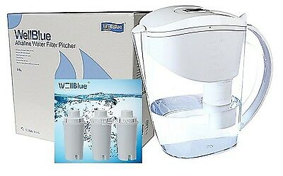 New Wellblue Alkaline Water Filter Pitcher 3.5L With 3 Filters Included-White