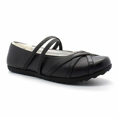 Girls Black Mary Jane Back To School Shoes Faux Leather Formal Strap Size UK 6-3