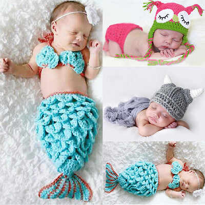 Hot Infant Mermaid Cow Owl Costume Dress Baby Photography Prop Crochet Outfits