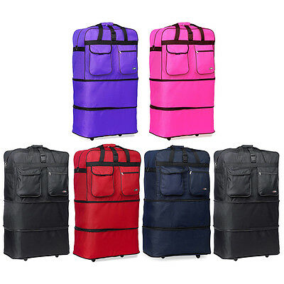 """36"""" XL Expandable Rolling Wheeled Duffel Bag Spinner Suitcase Duffle Bag Luggage"""