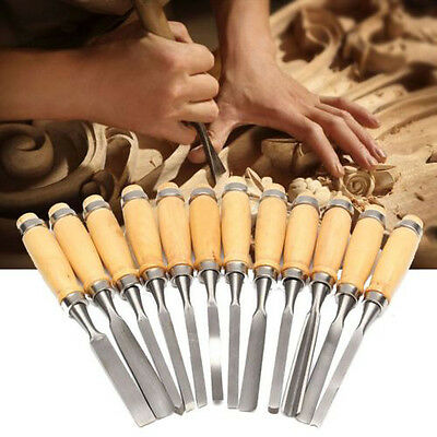 New 12PCS Wood Carving Hand Chisel Set Woodworking DIY Lathe Gouges Works Tools