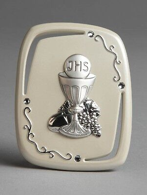 First Holy Communion Sterling Silver Plaque Stand Made In Italy