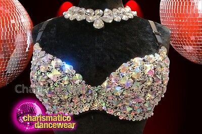CHARISMATICO Diva silver embellished bra with tiny sequins and stone work