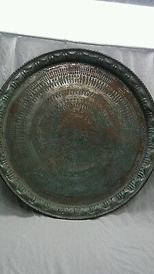 """Large antique Persian middle east Islamic tin copper etched tray table top 29 """""""