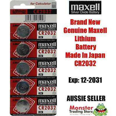 5 Pcs Maxell Cr2032 3V Lithium Button Coin Battery Made In Japan For Watch New