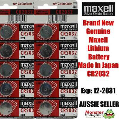 10 Pcs Maxell Cr2032 3V Lithium Button Coin Battery Made In Japan For Watch New