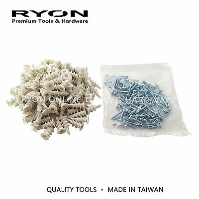 Nylon Speed Plug Plasterboard Anchor Wall Mate w/ Screws 100 200 600PCS