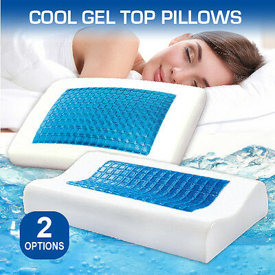 Deluxe Memory Foam Pillow with Cooling Gel Top & Zipper Cover-Flat&Curve Shaped
