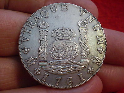 Superb aUnc 1761 Colonial Mexico MOMM Carolus 111 Pillar 8 Reales Weight 27.04