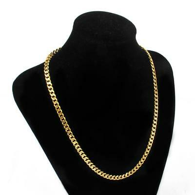 Mens 18K Gold Filled Stainless Steel Cuban Link Gold Chain Necklace Punk