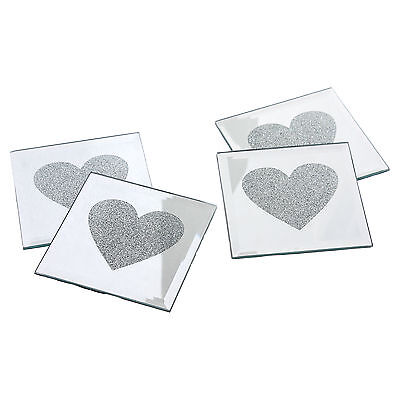 4 x Love Heart Mirrored Glass Coffee Table Mug Mat Drink Coaster Coasters Set