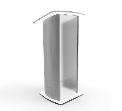 Acrylic Pulpit Aluminum Podium Frosted Lectern Church School Conference Podium