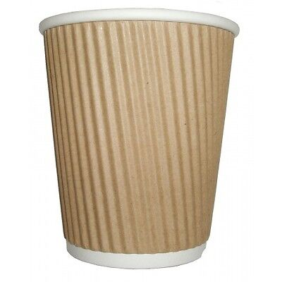 Kraft Disposable Ripple Hot Cups Coffee Tea Cup Takeaway 12oz Pack of 100