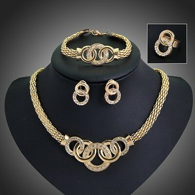 Women Gold Plated Crystal Bridal Jewelry Sets Necklace Earrings Set Gift