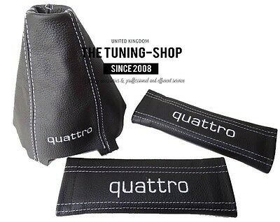 For Audi A4 B6 01-04 Black Leather Gear Gaiter+Seat Belts Covers Quattro Edition