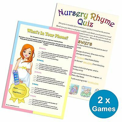 Baby Shower 2 Games Pack Nursery Rhyme Quiz Whats In Your Phone