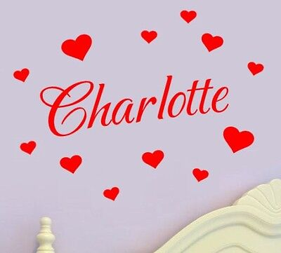 Personalised Name Wall Art Hearts Vinyl Sticker Girls Room Bedroom - 17 Colours