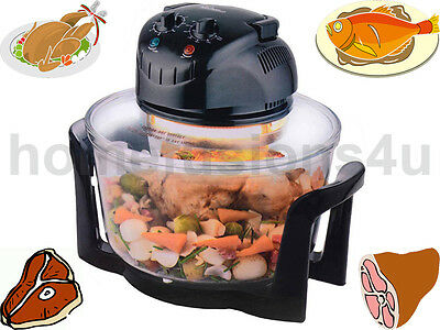 12L Litre Halogen Oven Premium Black Convection Cooker With Accessories 1200W